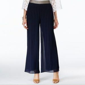 Alfani metallic waist palazzo pants navy blue NWT